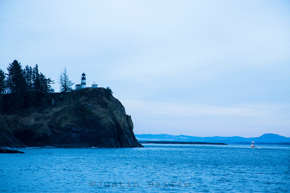 Crab boats coming in. Cape Disappointment, Washington.