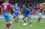 AFC Wimbledon midfielder Jimmy Abdou (8) dribbling during the EFL Sky Bet League 1 match between AFC Wimbledon and Scunthorpe United at the Cherry Red Records Stadium, Kingston, England on 7 April 2018. Picture by Matthew Redman.