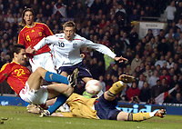 Photo: Paul Greenwood.<br />England v Spain. International Friendly. 07/02/2007. Englands Peter Crfouch, centre, reatcs as Spains Pablo Ibanez clears past keeper Iker Casillas.