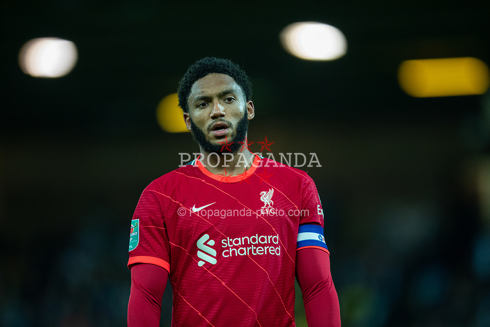 NORWICH, ENGLAND - Tuesday, September 21, 2021: Liverpool's Joe Gomez during the Football League Cup 3rd Round match between Norwich City FC and Liverpool FC at Carrow Road. Liverpool won 3-0. (Pic by David Rawcliffe/Propaganda)