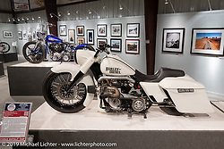 John Shope's Dirtybird Customs custom diesel  bagger in the More Mettle - Motorcycles and Art That Never Quit exhibition in the Buffalo Chip Events Center Gallery during the Sturgis Motorcycle Rally. SD, USA. Tuesday, August 10, 2021. Photography ©2021 Michael Lichter.