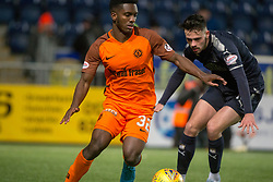 Dundee United's Brandon Mason and Falkirk's Louis Longridge. Falkirk 6 v 1 Dundee United, Scottish Championship game played 6/1/2018 played at The Falkirk Stadium.