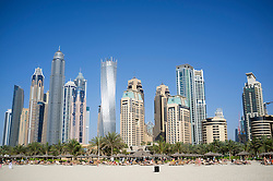 Skyline of skyscrapers in marina area at  New Dubai in United Arab Emirates