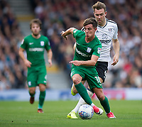 Preston North End's Josh Harrop holds off the challenge from Fulham's Kevin McDonald<br /> <br /> Photographer Ashley Western/CameraSport<br /> <br /> The EFL Sky Bet Championship - Fulham v Preston North End - Saturday 14th October 2017 - Craven Cottage - London<br /> <br /> World Copyright © 2017 CameraSport. All rights reserved. 43 Linden Ave. Countesthorpe. Leicester. England. LE8 5PG - Tel: +44 (0) 116 277 4147 - admin@camerasport.com - www.camerasport.com