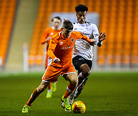 Blackpool's Sean Graham shields the ball from Derby County's Archie Brown<br /> <br /> Photographer Alex Dodd/CameraSport<br /> <br /> The FA Youth Cup Third Round - Blackpool U18 v Derby County U18 - Tuesday 4th December 2018 - Bloomfield Road - Blackpool<br />  <br /> World Copyright © 2018 CameraSport. All rights reserved. 43 Linden Ave. Countesthorpe. Leicester. England. LE8 5PG - Tel: +44 (0) 116 277 4147 - admin@camerasport.com - www.camerasport.com