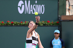 March 9, 2019 - Indian Wells, CA, U.S. - INDIAN WELLS, CA - MARCH 09: Petra Kvitova (CZE) serves during the BNP Paribas Open on March 9, 2019 at Indian Wells Tennis Garden in Indian Wells, CA. (Photo by George Walker/Icon Sportswire) (Credit Image: © George Walker/Icon SMI via ZUMA Press)