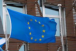Edinburgh, Scotland, UK. 31 January, 2020. European Union flag flying outside the Scottish Parliament at Holyrood in Edinburgh. The Parliament voted to continue flying the European flag after the UK leaves the European Union tonight. Iain Masterton/Alamy Live News.