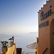 Seaside Remvi restaurant in Firostefani Santorini with the scenic view to caldera