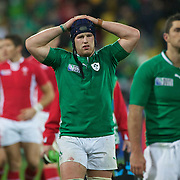 A dejected Sean O' Brien (centre) after Ireland's defeat during the Ireland V Wales Quarter Final match at the IRB Rugby World Cup tournament. Wellington Regional Stadium, Wellington, New Zealand, 8th October 2011. Photo Tim Clayton...