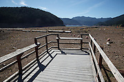 USA, Oregon, Detroit Lake State Recreation Area, a pier high and dry in the drought of 2015.