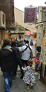 Israel, Upper Galilee, The Druze village of Peki'in. Tourists in the town centre
