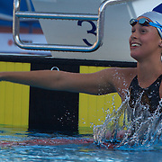 Federica Pellegrini of Italy breaks the World Record to win gold in the Women's 400m Freestyle event watched by Joanne Jackson who finished second at the World Swimming Championships in Rome on Sunday, July 7, 2009. Photo Tim Clayton.