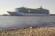 Royal Caribbean International's  Independence of the Seas, the world's largest cruise ship, leaves the Aker shipyard in Turku on her first voyage.