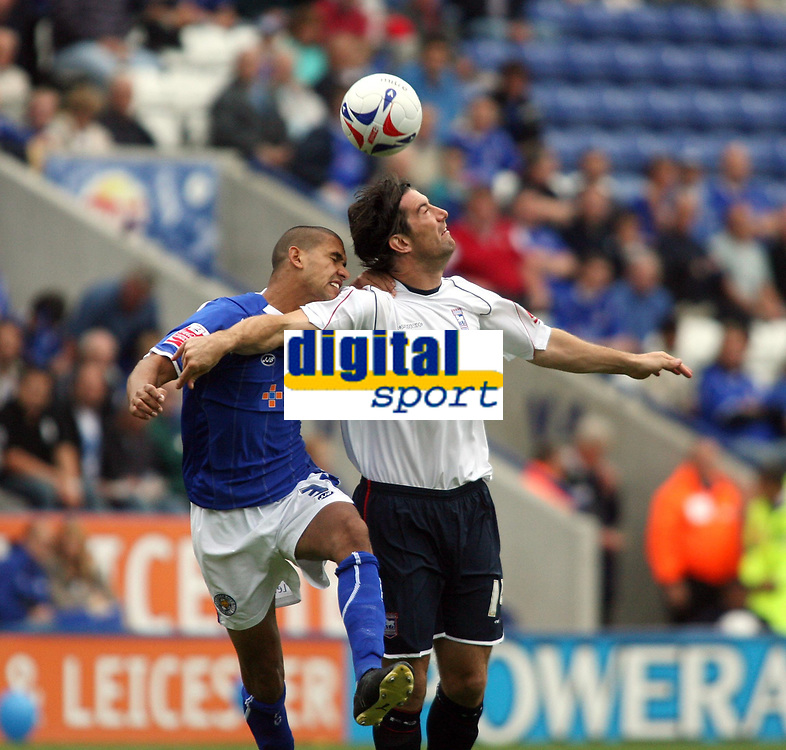 Photo: Chris Ratcliffe.<br />Leicester City v Ipswich Town. Coca Cola Championship. 12/08/2006.<br />Alan Lee (R) of Ipswich clashes with Patrick Kisnorbo of Leicester.