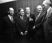 21/9/1970<br /> 9/21/1970<br /> 21 September 1970<br /> <br /> Roadstone Extraordinary A.G.M. A show of hands of the share holders voted to merge with Cement Ltd. the Meeting was held at Jury's Hotel Dublin. <br /> <br /> Photo shows the Five Directors of Roadstone Ltd. Mr. J.N. Kidney, Director;Mr Colm  Barnes Director; Mr. F.D. Thomson of Cork Director; Mr. R.A Kidney Chairman and Mr J.A. Wood of Cork Director.
