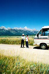 RV Travel Through Wyoming, lifestyle, vacation, vertical scenic landscape, mountains.Photo copyright Lee Foster, www.fostertravel.com.Photo #: rvstyl101, 510/549-2202, lee@fostertravel.com