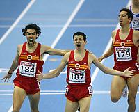 Photo: Rich Eaton.<br /> <br /> EAA European Athletics Indoor Championships, Birmingham 2007. 04/03/2007. Spains Juan Carlos Higuero  #187 celebrates victory in the mens 1500m race ahead of Sergio Gallardo #184 and Arturo Casado #179, also of Spain
