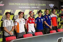 June 8, 2017 - Barcelona, Spain - MotoGP, Alvaro Bautista(Spa), Pull&Bear Aspar Team, Marc Marquez(Spa), Repsol Honda Team, Andrea Dovizioso(Ita), Ducati Team, Maverick Vinales(Spa), Movistar Yamaha Motogp Team, Valentino Rossi(Ita), Danilo Petrucci(Ita), Octo Pramac Racing Team during the press conference of MotoGp Grand Prix Monster Energy of Catalunya, in Barcelona-Catalunya Circuit, Barcelona on 8th June 2017 in Barcelona, Spain. (Credit Image: © Urbanandsport/NurPhoto via ZUMA Press)