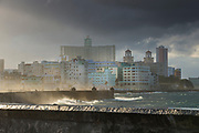 View from Malecon road and coastline with waves at storm, Havana, Cuba