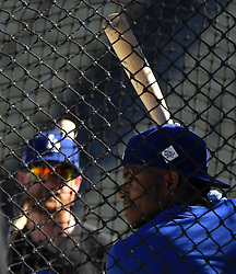 October 24, 2017 - Los Angeles, California, U.S. - Los Angeles Dodgers' Yasiel Puig during batting practice prior to game one of a World Series baseball game against the Houston Astros at Dodger Stadium on Tuesday, Oct. 24, 2017 in Los Angeles. (Photo by Keith Birmingham, Pasadena Star-News/SCNG) (Credit Image: © San Gabriel Valley Tribune via ZUMA Wire)