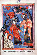 Adam and Eve expelled from the Garden of Eden.  From Armenian Evangelistery, 1587.