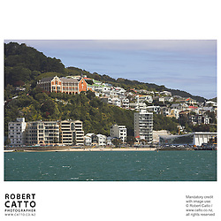 Oriental Bay beach with St Gerard's Monastery seen from Lambton Harbour, Wellington, New Zealand.<br />