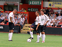 Milan Baros, Michael Owen and Harry Kewell (Liverpool) Crewe v Liverpool. Pre season friendly match. 19/7/2003. Credit : Colorsport/Andrew Cowie.