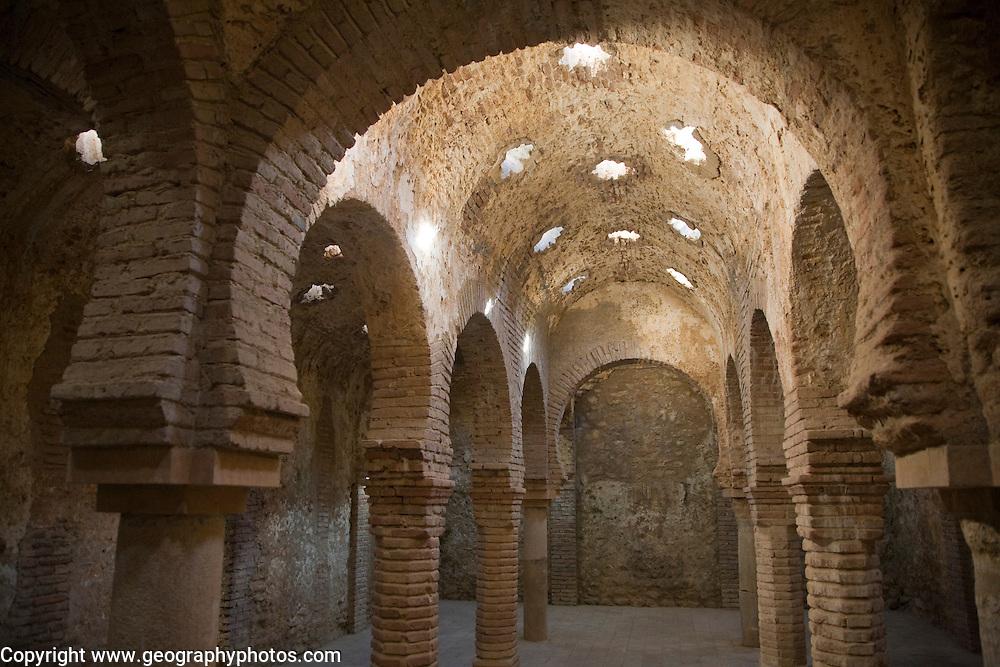 Star shaped skylights in vaulted roof of Arab Baths, Baños Árabes, Ronda, Spain