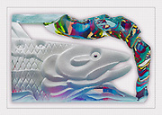 Digital compoosite, glass salmon scuplture and relections, autumn, December, private residence, Tacoma, Washington, USA