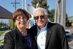 27 August 2015. Andrew P. Sanchez & Copelin-Byrd Multi Service Center, Lower 9th Ward, New Orleans, Louisiana.<br /> Former Louisiana Governor Kathleen Blanco and husband Raymond following the event where President Barack Obama spoke at the center.<br /> Photo credit©; Charlie Varley/varleypix.com.