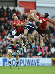 Bristol Rugby's Jack Wallace catches the ball in the air - Photo mandatory by-line: Dougie Allward/JMP - Mobile: 07966 386802 - 17/04/2015 - SPORT - Rugby - Bristol - Ashton Gate - Bristol Rugby v Jersey - Greene King IPA Championship