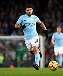 """Manchester City's Sergio Aguero during the Premier League match at the Etihad Stadium, Manchester. PRESS ASSOCIATION Photo. Picture date: Sunday December 3, 2017. See PA story SOCCER Man City. Photo credit should read: Martin Rickett/PA Wire. RESTRICTIONS: EDITORIAL USE ONLY No use with unauthorised audio, video, data, fixture lists, club/league logos or """"live"""" services. Online in-match use limited to 75 images, no video emulation. No use in betting, games or single club/league/player publications."""