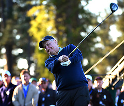 Jack Nicklaus follows through on his ceremonial opening tee shot to begin The Masters tournament at Augusta National Golf Club on Thursday, April 6, 2016 in Augusta, Ga. (Photo by Jeff Siner/Charlotte Observer/TNS)  *** Please Use Credit from Credit Field ***