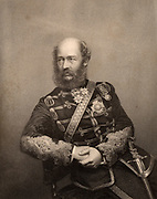 George Charles Bingham, 3rd Earl of Lucan (1800-1888 English soldier. Commanded the British cavalry in the Crimean (Russo-Turkish) War 1853-1856).  Directed the charge of the Heavy Brigade at the Battle of Balaclava, 1854.   Engraving from 'The Illustrated News of the World' (London, c1860).