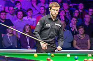Jack Lisowski weighing up his options during the World Snooker 19.com Scottish Open Final Mark Selby vs Jack Lisowski at the Emirates Arena, Glasgow, Scotland on 15 December 2019.