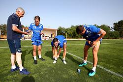 Stuart Sinclair, Tom Lockyer and Tom Broadbent of Bristol Rovers apply suncream ahead of training in Portugal - Mandatory by-line: Robbie Stephenson/JMP - 18/07/2017 - FOOTBALL - Colina Verde Golf & Sports Resort - Moncarapacho, England - Sky Bet League One