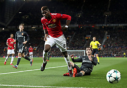 Manchester United's Paul Pogba (left) and CSKA Moscow's Mario Fernande in action during the UEFA Champions League match at Old Trafford, Manchester.