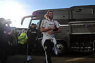 West Ham player Andy Carroll arrives off the team bus. Barclays Premier league, Cardiff city v West Ham Utd match at the Cardiff city Stadium in Cardiff, South Wales on Saturday 11th Jan 2014.<br /> pic by Andrew Orchard, Andrew Orchard sports photography.