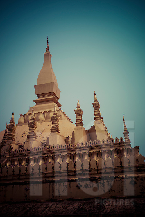 Architecture of the gilded stupa in Pha That Luang, Vientiane, Laos, Southeast Asia