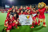 ANTWERPEN - Het team van  Belgie na de finale mannen  Belgie-Spanje (5-0),  bij het Europees kampioenschap hockey.  COPYRIGHT KOEN SUYK