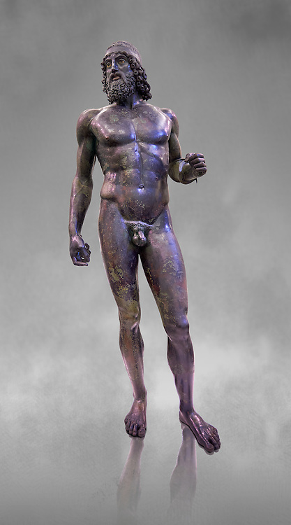 The Riace bronze Greek statue A cast about 460 BC. Museo Nazionale della Magna Grecia,  Reggio Calabria, Italy. .<br /> <br /> If you prefer to buy from our ALAMY STOCK LIBRARY page at https://www.alamy.com/portfolio/paul-williams-funkystock/greco-roman-sculptures.html . Type -    Riace     - into LOWER SEARCH WITHIN GALLERY box - Refine search by adding a background colour,  etc.<br /> <br /> Visit our ROMAN WORLD PHOTO COLLECTIONS for more photos to download or buy as wall art prints https://funkystock.photoshelter.com/gallery-collection/The-Romans-Art-Artefacts-Antiquities-Historic-Sites-Pictures-Images/C0000r2uLJJo9_s0