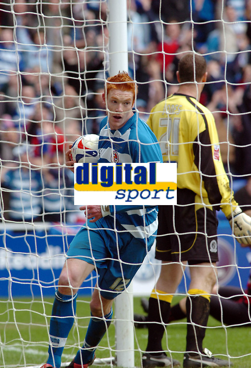 Photo: Kevin Poolman.<br /> Reading v Queens Park Rangers. Coca Cola Championship. 30/04/2006. Reading's Dave Kitson gets the ball from the back of the net after his goal and Reading's first.