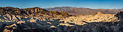 Sunrise seen from Zabriskie Point in Death Valley National Park, California, USA. This image was stitched from multiple overlapping photos.