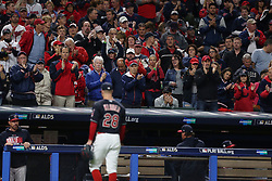 October 11, 2017 - Cleveland, OH, USA - Fans applaud Cleveland Indians starter Corey Kluber as he heads to the dugout after being relieved in the fourth inning against the New York Yankees during Game 5 of the American League Division Series, Wenesday, Oct. 11, 2017, at Progressive Field in Cleveland. (Credit Image: © Phil Masturzo/TNS via ZUMA Wire)