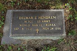 31 August 2017:   Veterans graves in Dawson Cemetery in eastern McLean County.<br /> <br /> Delmar E Hendren  Master Sergeant  US Army  World War II  Korea  Sep 8, 1921  Nov 24, 1996