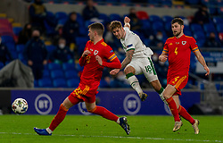 CARDIFF, WALES - Sunday, November 15, 2020: Republic of Ireland's James Collins shoots during the UEFA Nations League Group Stage League B Group 4 match between Wales and Republic of Ireland at the Cardiff City Stadium. Wales won 1-0. (Pic by David Rawcliffe/Propaganda)