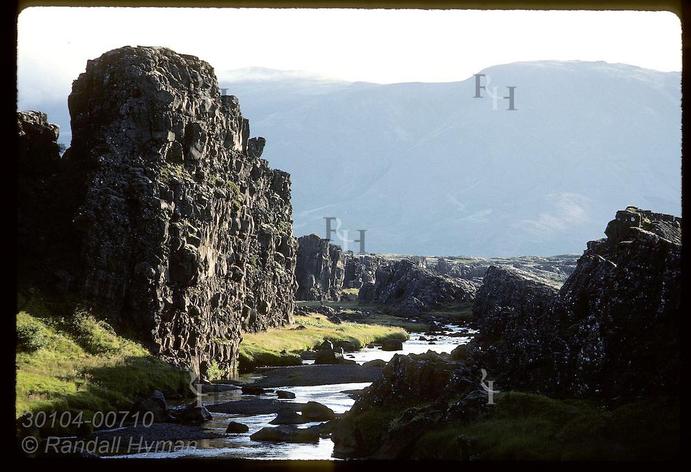 Oxara river flows through Almannagja canyon @ Thingvellir, first site of world's oldest parliamnt Iceland