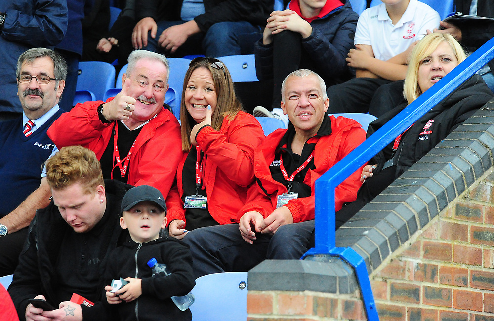 Lincoln City fans watch their team in action<br /> <br /> Photographer Andrew Vaughan/CameraSport<br /> <br /> The EFL Sky Bet League One - Macclesfield Town v Lincoln City - Saturday 15th September 2018 - Moss Rose - Macclesfield<br /> <br /> World Copyright © 2018 CameraSport. All rights reserved. 43 Linden Ave. Countesthorpe. Leicester. England. LE8 5PG - Tel: +44 (0) 116 277 4147 - admin@camerasport.com - www.camerasport.com