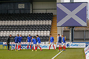 Scotland warm up ahead of the U17 European Championships match between Scotland and Russia at Simple Digital Arena, Paisley, Scotland on 23 March 2019.