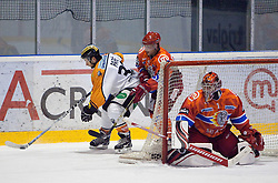Jean Philippe Pare of Graz vs Mitja Robar of Acroni Jesenice and Jaakko Suomalainen of Acroni Jesenice during ice hockey match between HK Acroni Jesenice and  Moser Medical Graz 99ers in 24th Round of EBEL league, on December 3, 2010 in Arena Podmezakla, Jesenice, Slovenia.  (Photo By Vid Ponikvar / Sportida.com)